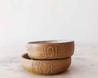 MADE TO ORDER Custom Ceramic Pet Slow Feeder Bowl // personalized dog cat bowl