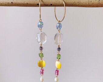 Garden Party Freshwater Pearl & Crystal Drop Earrings