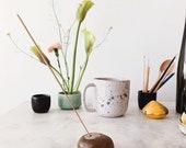 Ceramic River Rock Incense Holder // Handmade Pottery // chestnut