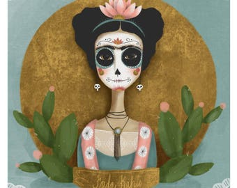 Frida Kahlo Day of the Dead Print - 8x8