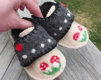 Wool felted baby shoes with needle felted toadstools, up-cycled baby shoes