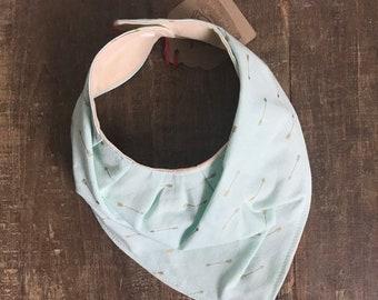 ON CLEARANCE ! Drool bib/ handkerchief . Light mint green with gold arrrows