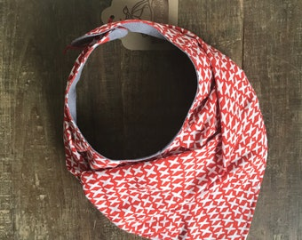 ON CLEARANCE ! Drool bib / accessory . Red grey and white