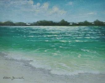 Plein air Florida seascape beach painting at South Lido Key Park (Morning at Big Pass) - Free Shipping