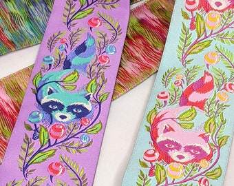 SALE Raccoon Brocade Trim - Pink,Peach, Orange, Green, Blue, Purple by the YARD