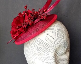 Deep Red, Burgundy Fascinator:  Holiday, Christmas, Church, or Derby Whimsy