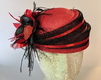Halloween Fashion Fascinator:  Black and Red Sugar Skull Design Whimsy Hat