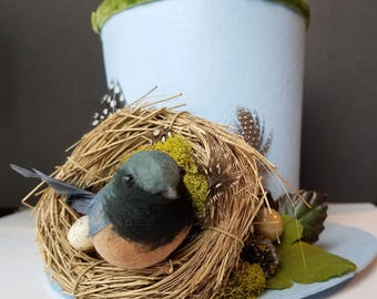 Vintage Look Blue Bird and Nest Christmas Fascinator Top Hat, Fashion or Tree Topper, Photo Prop