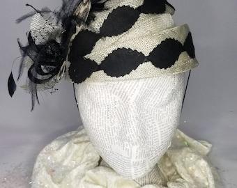Black/Creme Vintage Photography Fashion Hat