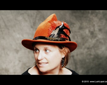 Wool Witch Hat:  British Style Witch Hat in Orange, Harry Potter, All Hollows Eve