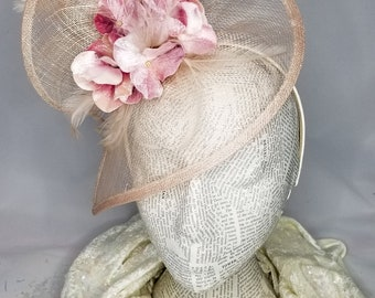 The Floral Collection: Whimsical Creme & Pink Floral Fashion Hat