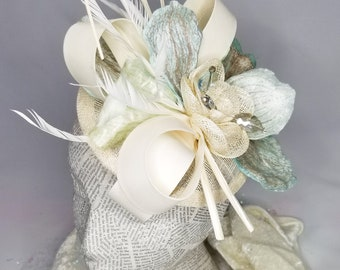 The Floral Collection: Beautiful Creme & Light blue Floral Fashion Hat