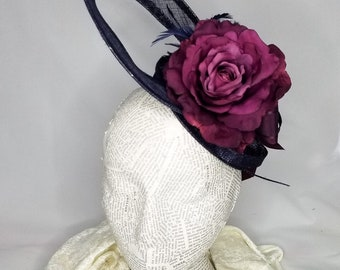 The Floral Collection: Unique Navy Blue and Purple Fashion Hat