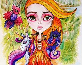 Owlyn in the Nest Jasmine Becket-Griffith CANVAS PRINT owl egg big eye fairy art