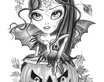 adult coloring page grayscale coloring page digital download halloween fantasy art batina by leslie mehl art