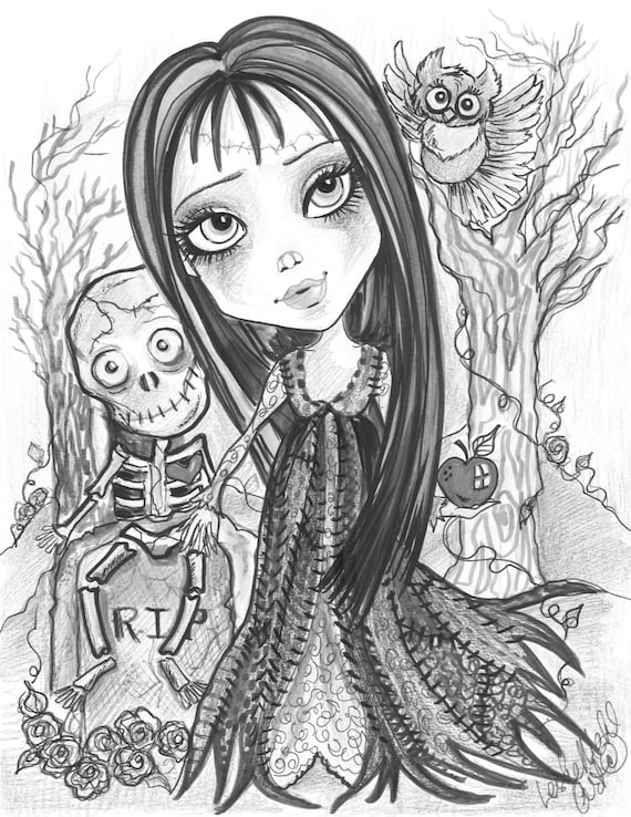 Adult Coloring Page Grayscale Coloring Page Printable Coloring Page Digital  Download Halloween Fantasy Art Walk In The Woods by Leslie Mehl