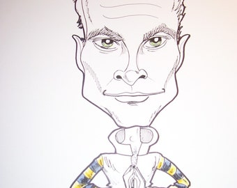 Sting Rock Portrait Rock and Roll Caricature Music Art by Leslie Mehl