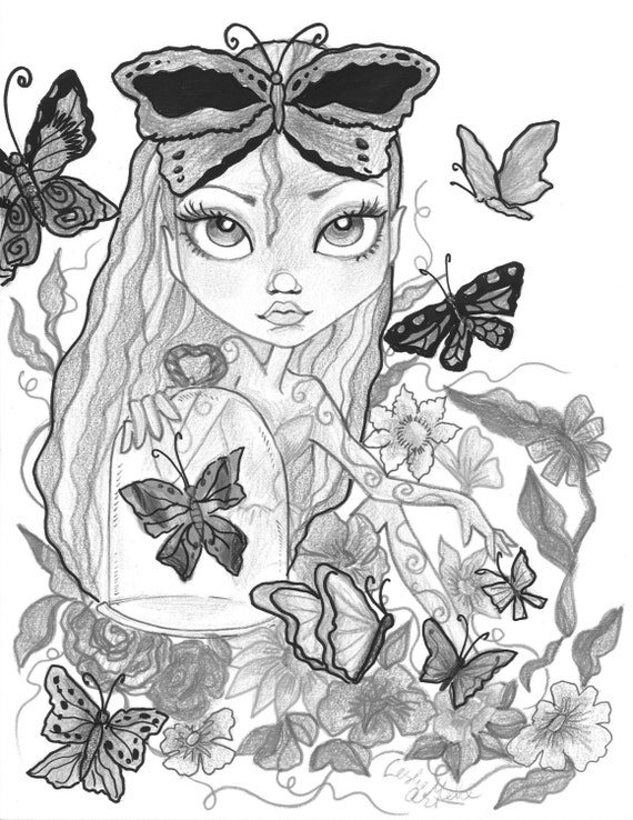 Adult Coloring Page Grayscale Coloring Page Printable Coloring Page Digital Download Fantasy Art Butterfly Girl By Leslie Mehl Art