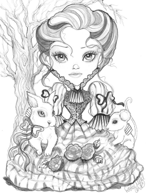 Adult Coloring Page - Grayscale - Printable Page- Digital Download -  Fantasy Art - Victorian Girl in Pink and Gray by Leslie Mehl Art