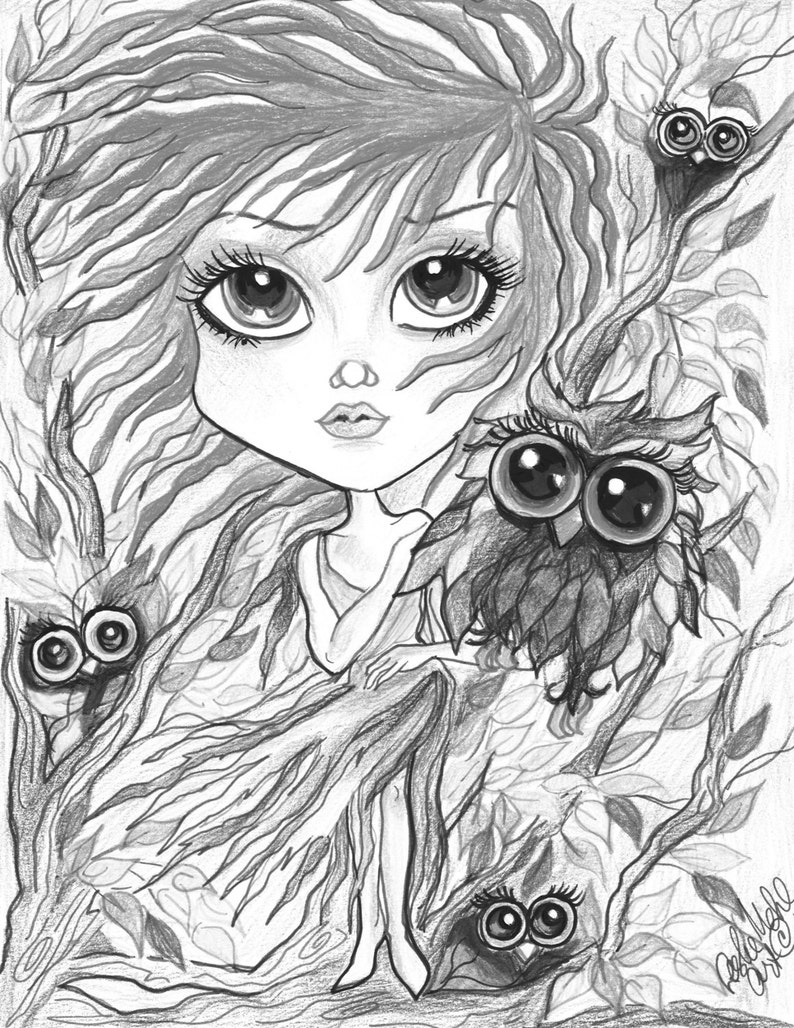 photo relating to Printable Grayscale identified as Grownup Coloring Website page - Grayscale Website page - Printable Coloring Web page - Electronic Obtain - Myth - Pink Haired Female with Owlsby Leslie Mehl Artwork