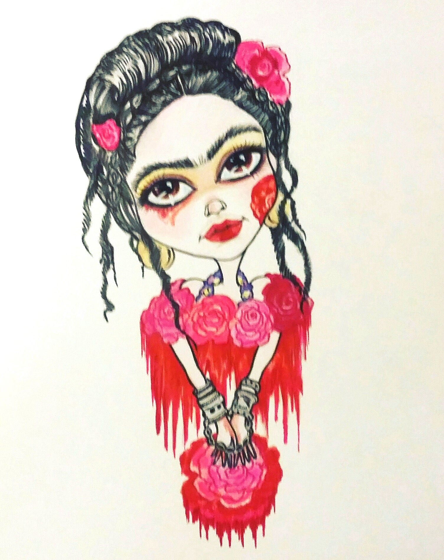 Frida And The Blood Flowers Fantasy Big Eye Lowbrow Art