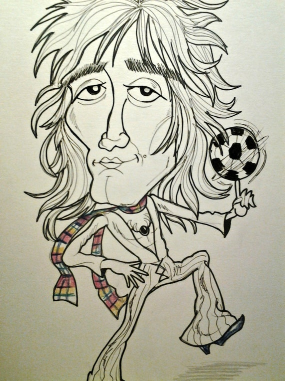 Young Rod Stewart Rock Caricature Rock Portrait Music Art