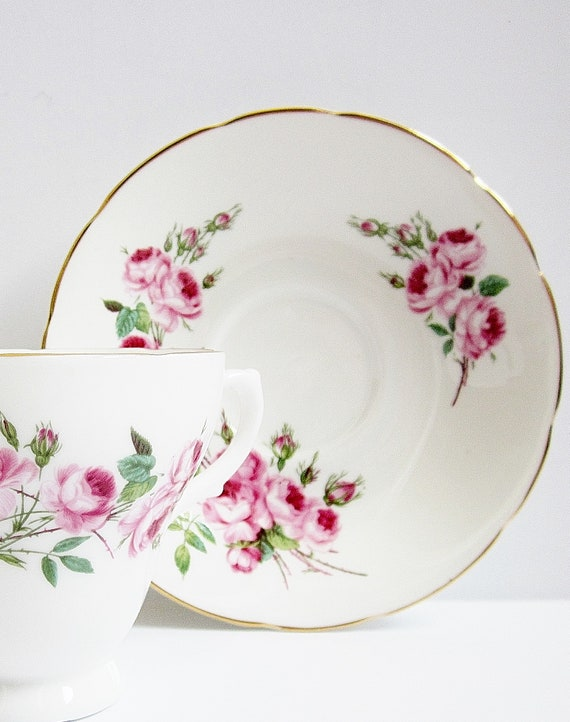 Vintage Pink Roses Tea Cup And Saucer English Bone China Sovereign House Exclusive Fine China Made In England Teacup Set For Your Tea Party