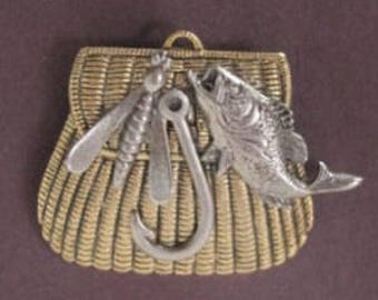 Gone Fishing Pin - a BZ Designs Original - Northwoods - Nature - Creel Basket Pin