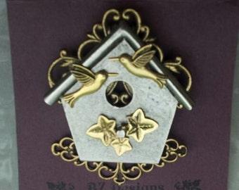 Birdhouse Pin - Bird Watcher Brooch - Mixed metal, Antique Gold and Antique Silver - Studio BZ Original