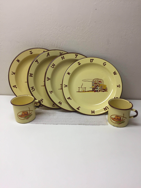 Monterrey Western Ware, Cowboy theme metalware Plates & mugs