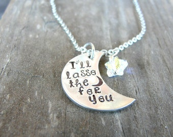 I'll Lasso The Moon for You Necklace - Moon Necklace - Moon and Stars Necklace - It's a Wonderful Life - George Bailey