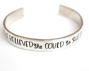 She Believed She Could So She Did - Graduation - Graduation Gift - College Graduation- Hand stamped Bracelet