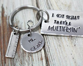 Math Teacher Gift - Personalized - Back To School - End of Year - Teacher Keychain - Teacher Appreciation