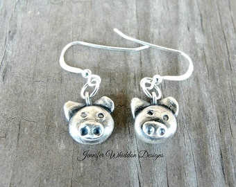 Pig Gifts - Pig Earrings - Pig Dangle Earrings - Piggy Earrings - Mini Pigs- Silver Pig Earrings -
