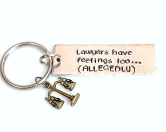 Lawyer Gifts - Lawyer Thank You - Lawyer Keychain - Hand Stamped Keychain - Law Student Gift - Funny Lawyer Gift - Scales of Justice