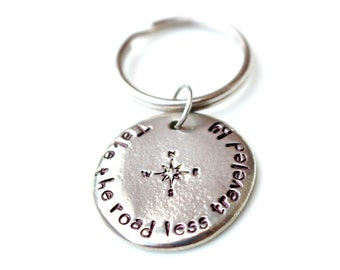 Take the Road Less Traveled By - Graduation - Compass Keychain - Road Less Traveled  - Inspirational Gift - Gift For Him - Personalized Gift