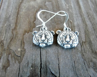 Tiger Earrings - Silver Tiger Earrings - Tiger Jewelry-  Clemson Tigers - Auburn Tigers - Silver Tigers - Game Day Jewelry