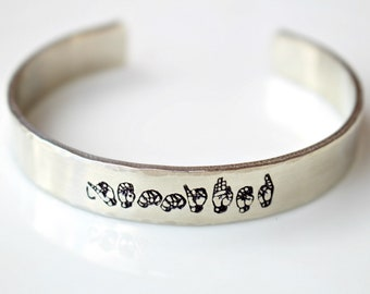 Sign Language - Sign Language Gift - Sign Language Bracelet - Name Bracelet - Personalized -Hand Stamped Bracelet