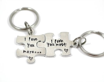 Puzzle Piece Keychain - I Love You More - I Love You Most - Couples Gift - Couples Keychain - New Car Keychain - Anniversary Gift