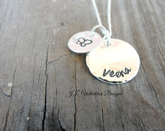 Personalized Childrens Name Necklace - Childrens Name Necklaces - Sterling Silver Necklace - Hand Stamped Jewelry - Grandaughter Necklace