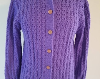 Vintage Americana Knitting Mills of Miami Purple Lavender Cardigan Pearlescent Buttons