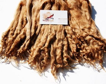 """9-11"""" Suri Alpaca Locks, Natural Fawn Brown, 2oz bundle (more available by request) washed seperated locks spinning felting knit doll hair"""