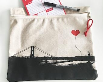 San Francisco Golden Gate Bridge Canvas Zipper Pouch
