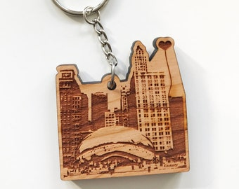 Chicago 'The Bean' Wooden Key Chain