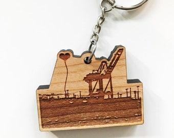Oakland Crane Wooden Key Chain