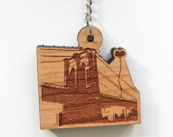 NYC Brooklyn Bridge Wooden Key Chain