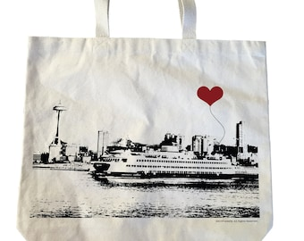SALE Seattle Ferry Boat Space Needle Cotton Canvas Heavyweight Tote Bag MISPRINT
