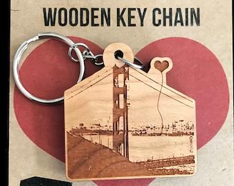 San Francisco Golden Gate Bridge Wooden Key Chain