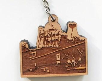 Portland Oregon White Stag Sign Wooden Key Chain
