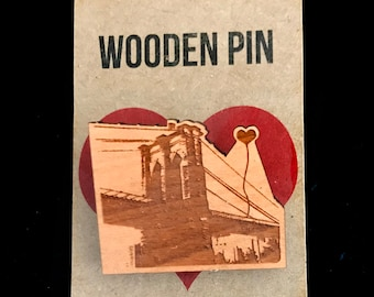 NYC Brooklyn Bridge Wooden Pin